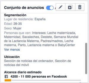 Segmentación para Facebook Lead Ads, campaña lactancia